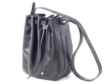 Leather Bucket Bag, Leather Bucket, Drawstring Bag