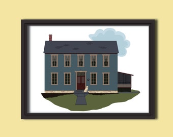 Custom Home Illustration Rendering