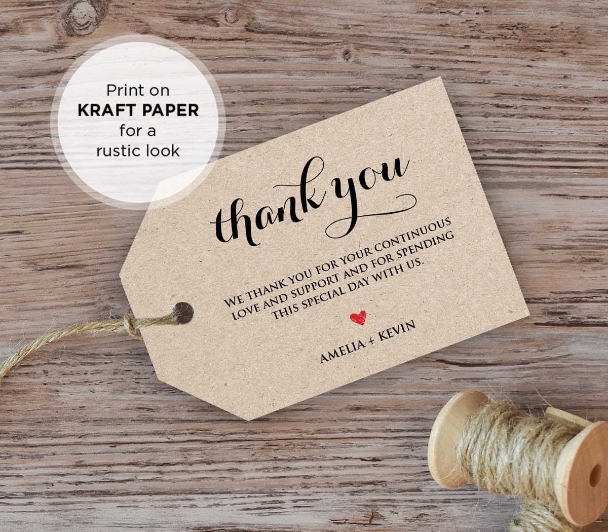 Wedding Thank You Gift Tags Template : Wedding Thank You Tag, Welcome Tag, Favor Tag, DiY Kraft Printable ...