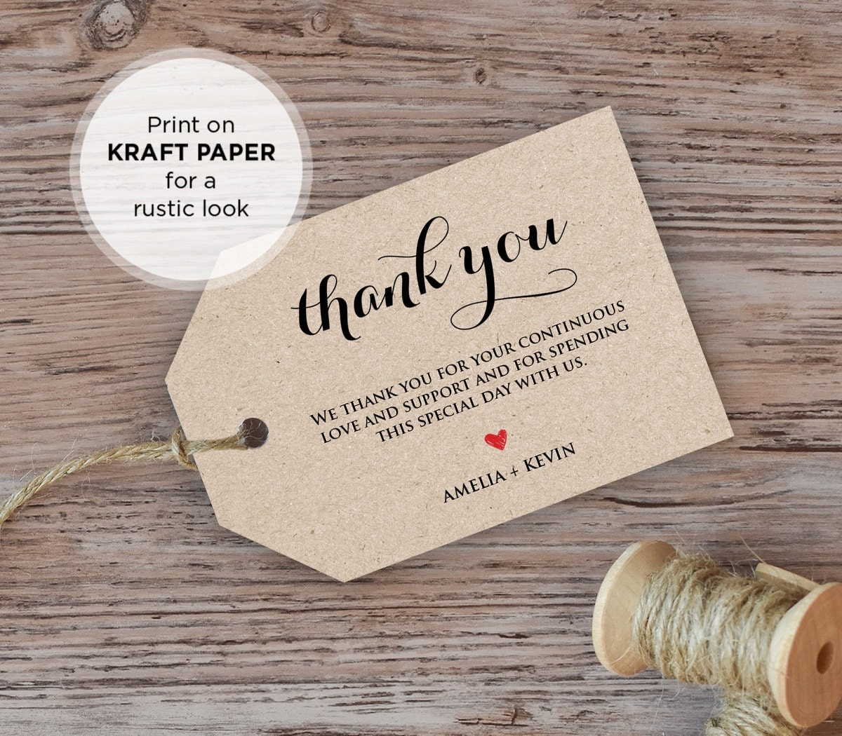 Wedding Favor Tags With Photo : Wedding Thank You Tag Welcome Tag Favor Tag DiY Kraft