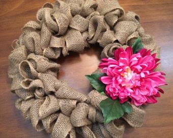 Burlap Wreath with Pink Dahlia Flower