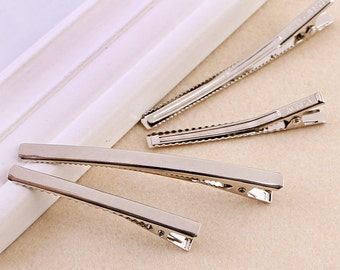 20 PCS Silver Narrow Curved Top Metal Hairpin,Alligator clip (1-68)