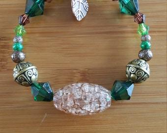 Green and bronze beaded bracelet
