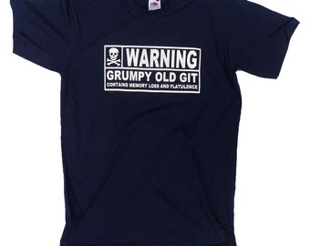 Warning grumpy old git contains memory loss and flatulence with a picture of a skullBlack Short Sleeve T-Shirt