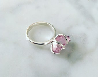 Cranberry Ruby Aura Crystal Ring (size 7)