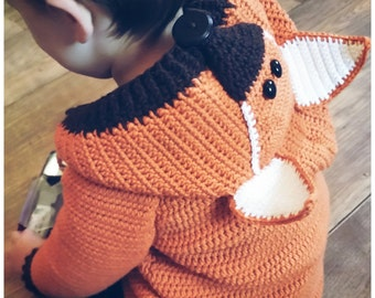 Crochet jacket Fox Gr. 92-146 ca 2-7 years Fox cardigan