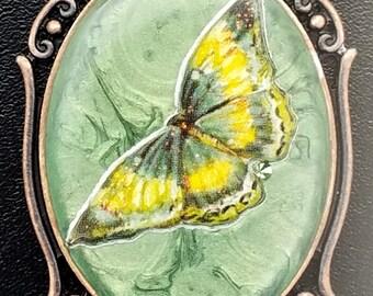 Handmade mixed media Butterfly pendant.