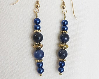 Gold Plated Sodalite Dangle Earrings, GE-86.  Necklace and Bracelet also available.