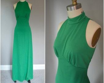 1970's Emerald green Halter Style Maxi Dress - Size Medium