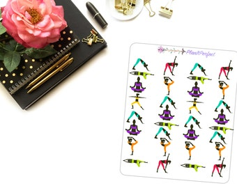 Yoga Planner Stickers/Yoga Stickers/Yoga Poses Stickers. Perfect for your planning and scrapbooking needs!