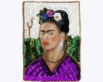 Frida Kahlo Mexican Glitter Sequin and beads applique patch embellishment
