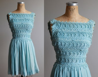 Baby Blue 1960s Fit and Flare Metal Zipper Dress