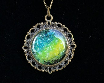 Glow in the dark Galaxy Pendant-Green and Blue