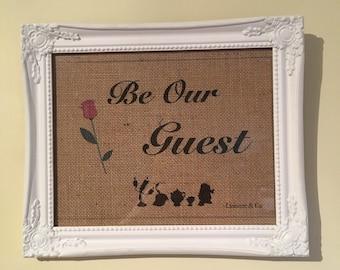 Be Our Guest, Framed Hessian Print, 20cm x 25cm White Swept Frame.