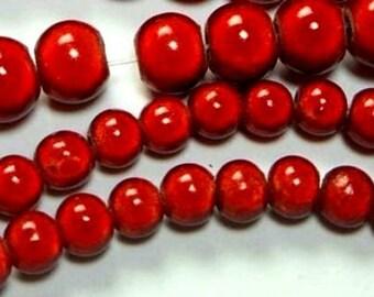30 glass beads, cat's eye effect beads 6 mm red (K806. 92)