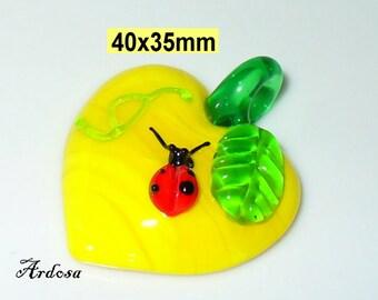 1 glass pendants, Lampwork, Apple 40x35mm (K106. 52.2)