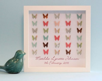 Personalised Baby Gift, Nursery Wall Art, 3D Paper Art, Nursery Decor, Butterflies