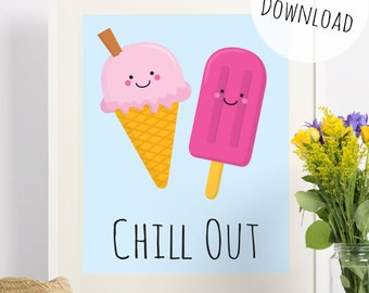 Chill Out Ice Cream and Lolly Funny Pun Illustration Wall Art, Download Printable Card