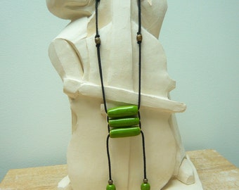 """Hand made necklace green """"zen"""" weaving with ceramic beads"""