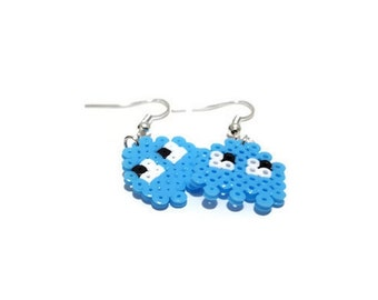 Earrings Inky Pacman Ghost [Pixel Art Hama Beads]