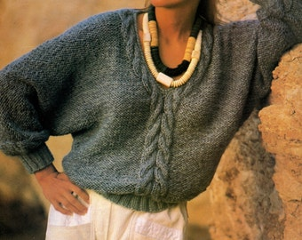 Pattern knit sweater cable women, models and patterns sweater, cables, model knitted sweater with cables. Specifications download PDF knitting