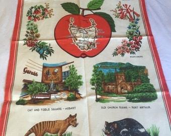 Vintage Tasmania linen/cotton tea towel