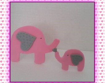 2D pink baby shower elephant cake topper