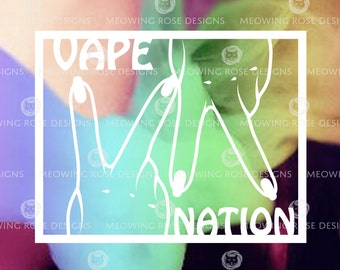 VAPE NATION  vinyl decal for laptops, car windows, water bottles, just about anywhere!