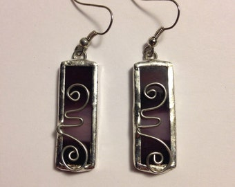 Dark and light purple stained glass earrings