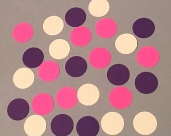 225 Purple Cream Hot Pink Confetti Birthday Girl Confetti Shower Confetti Polka Dot Confetti Purple Confetti Cream Confetti Pink Confetti