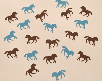 200 Blue and Brown Pony Confetti Blue Horse Confetti Horse Party Pony Party Blue Confetti Birthday Confetti Horse Confetti Pony Birthday