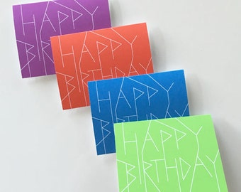 Modern Birthday Card Set - Simple and Contemporary Multi-color pack purple green red blue - pack of 4 cards