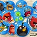 Angry Birds Cupcake Topper - Angry Birds Birthday Party Favor - Angry Birds Birthday - Birthday Invitation - circles - Angry Birds  Party -