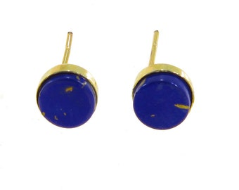 Lapis Earrings, Lapis Stud Earrings, 14K Gold Earrings, Lapis studs, Gold Lapis Earrings, gold Stud Earrings, Lapis jewelry, Gold Jewelry
