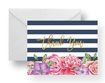 Thank You Cards Floral + Navy Stripes + Gold (Set), stationary, note card set, stripe note cards, flower note cards, floral note cards