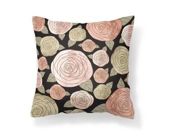 Throw Pillow Flower, Decroative Pillow, Rose Pillow, black pillow, gold pillow, pink pillow, green pillow