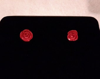 Red polymer clay rose earrings