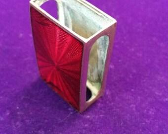 Vintage antique red enamel matchbox holder