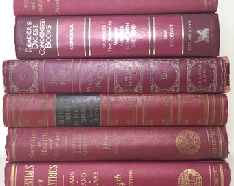 Red Antique Books, Red Books, Vintage Classic Books, Antique Book Bundle,  Decorative Books,  Vintage Books, Old Books, Brick Red Books