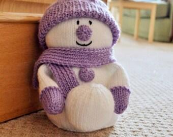 Snowman Door Stop Knitting Pattern, Winter Door Stop Knit Pattern, Winter Snowman Knitting Pattern, Christmas Knitting Pattern