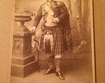 Vintage Victorian Carte de visite of an old Scottish gent in highland dress