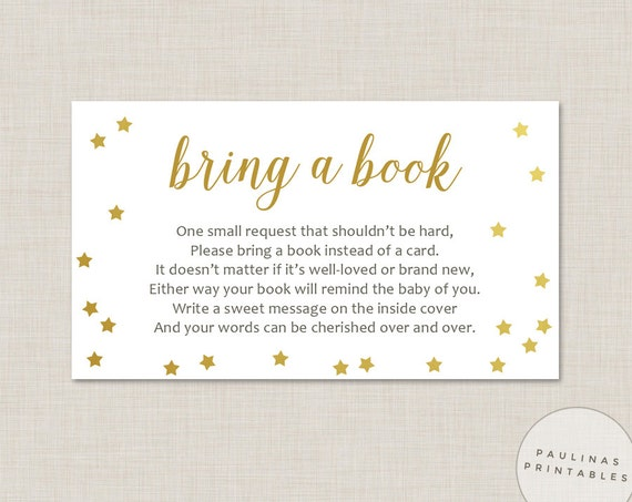 Bring a Book instead of a card Baby Shower Game Printable