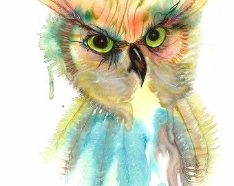 "Mystic spirtual Beautiful Colorful bird Owl Mystic spirit Original Watercolor Painting Art  Print - 9x13"" Modern wall art home Décor"