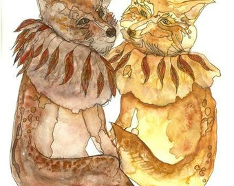 "couple of Foxes,fox Watercolor Painting,fox Illustration,Wildlife Art,Fox print,artwork,wall art,home Décor,Art Print 9 x13"""