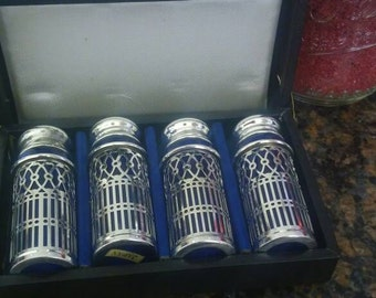 Vintage Cobalt Blue glass salt and pepper shakers with silver plated filigree and caps/made in Japan 1950's