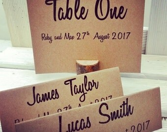Personalised Rustic Table Numbers and Place Names. Place Names