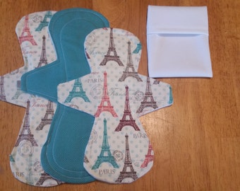 SET of 3 cloth pads + free PUL pad wrapper