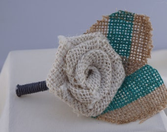 Cream Burlap Flower Boutonniere with Teal Stripe leaves
