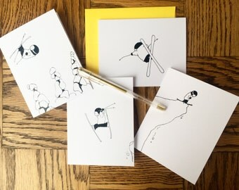 Pack of 4 skier greeting cards