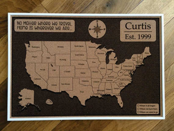 Custom cork usa map us map push pin travel map map usa like this item gumiabroncs Gallery